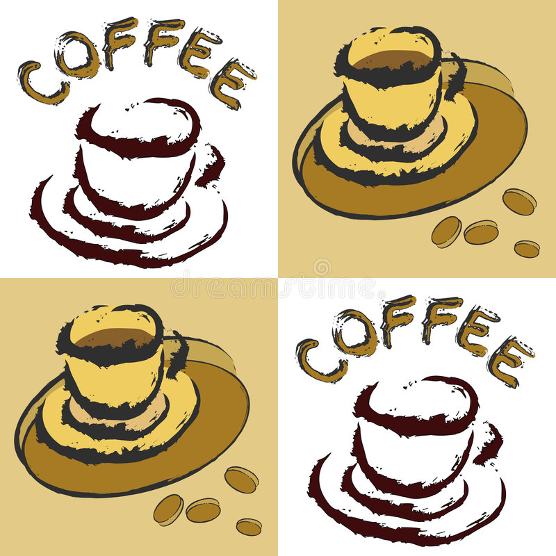 Coffee designs. A collage of grunge illustrations with coffee cups and beans royalty free illustration