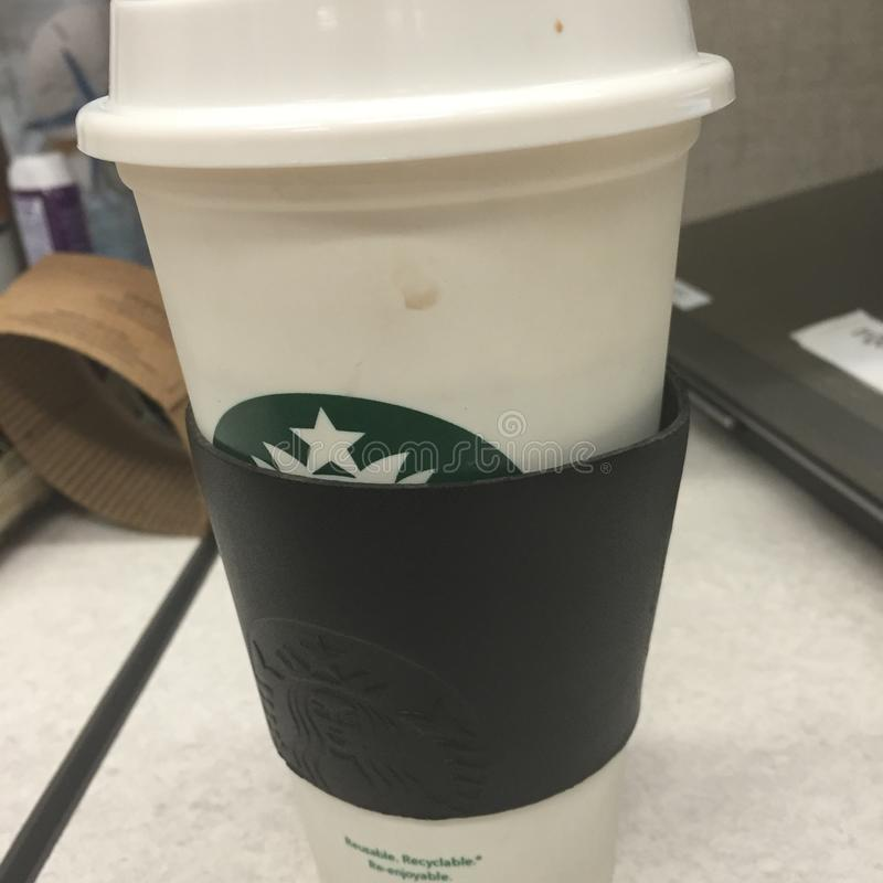 Coffee at desk stock photos