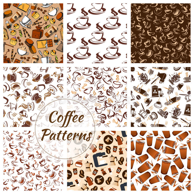 Coffee and desserts seamless patterns set. Coffee patterns set of vector coffee bean, cup of hot cappuccino or moka, sweet cupcakes and biscuits, cakes and vector illustration