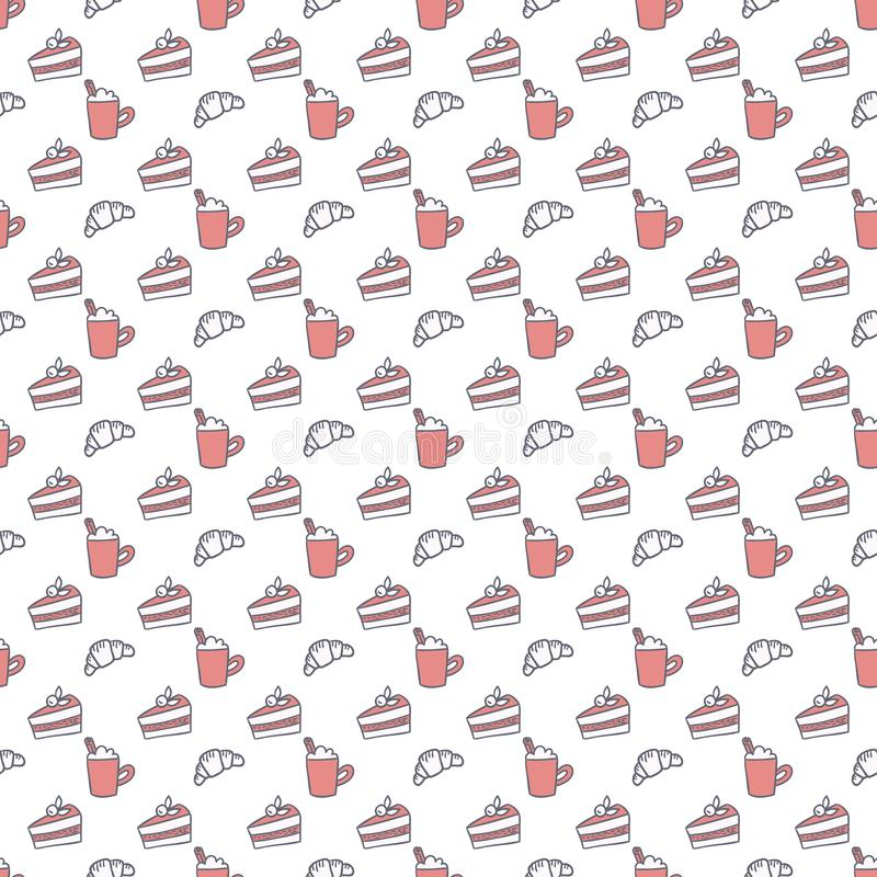 Coffee and desserts vector seamless pattern. Simple pink and gray sweets and hot drinks background. Simple sketch texture for cozy food and drink design royalty free illustration