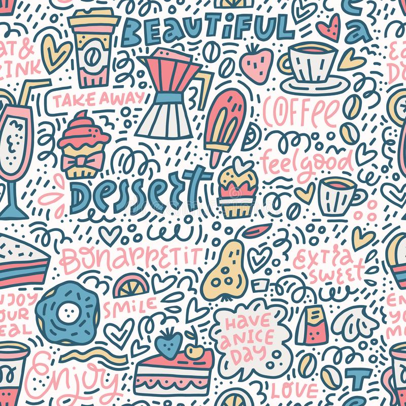 Coffee and desserts vector. Vector seamless background with illustrations of coffee and desserts in combination with lettering. Complex pattern vector illustration
