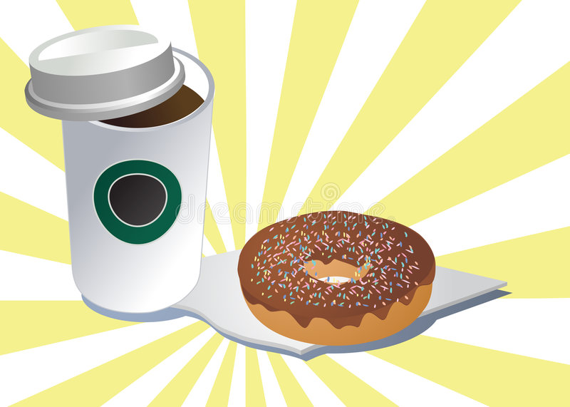 Coffee and donut royalty free illustration