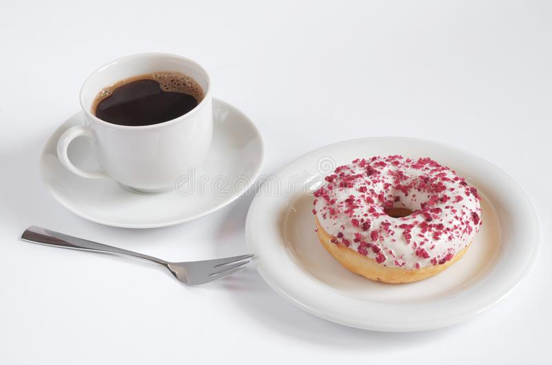 Coffee and donut with curd cream royalty free stock images