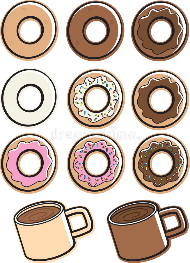 Download Coffee & Donuts stock vector. Image of chocolate, glazed - 3080574