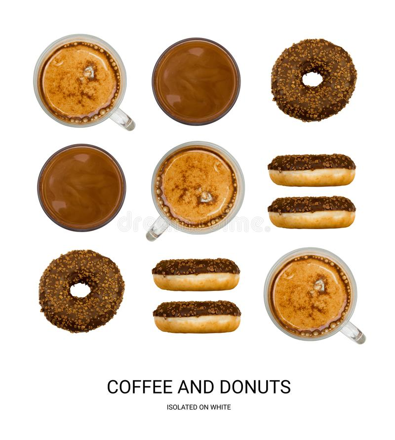 Coffee and Donuts Good Morning Pattern. Coffee Cups and Donuts Isolated on White Background Top View. Creative Hot Beverages Layout stock image