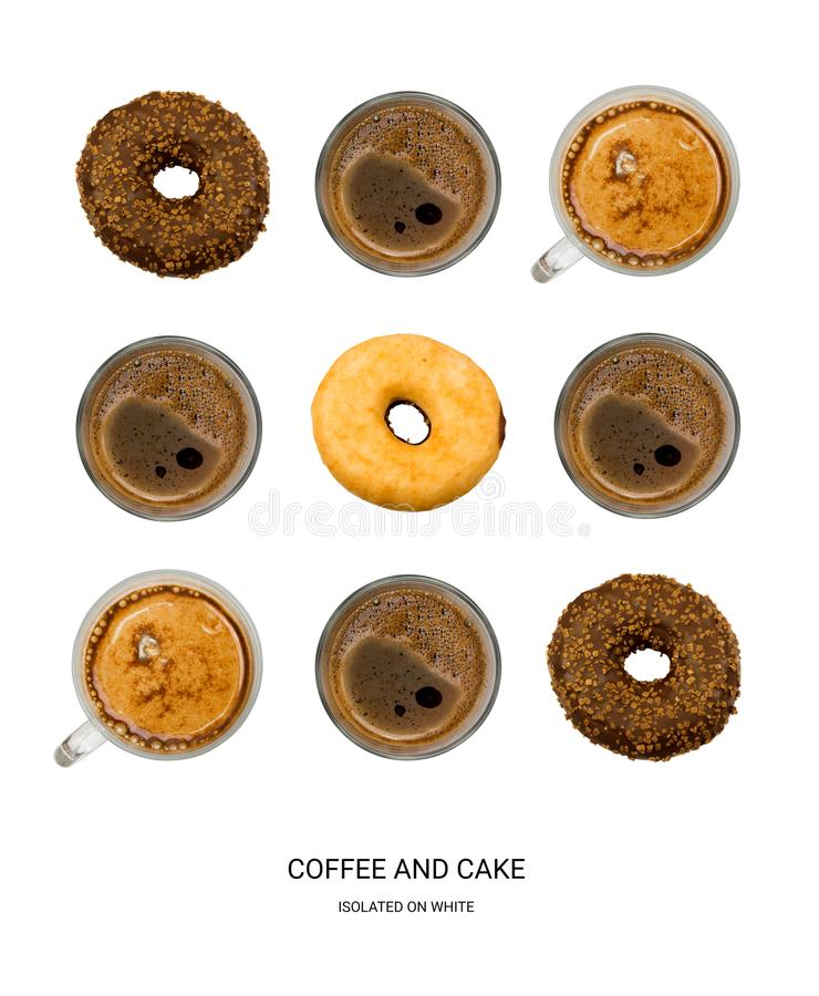 Coffee and Donuts Good Morning Pattern. Coffee Cups and Donuts Isolated on White Background Top View. Creative Hot Beverages Layout stock photos