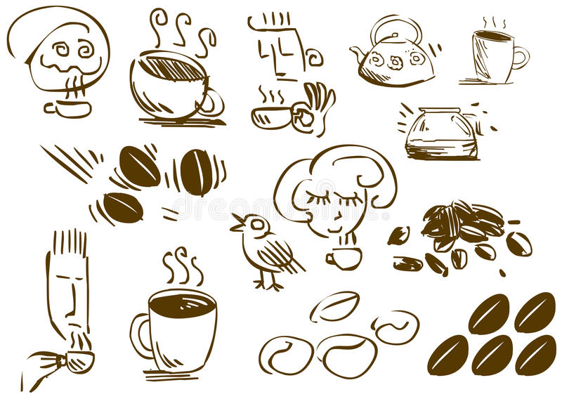 Download Coffee Doodles stock vector. Illustration of glass, morning - 23777357