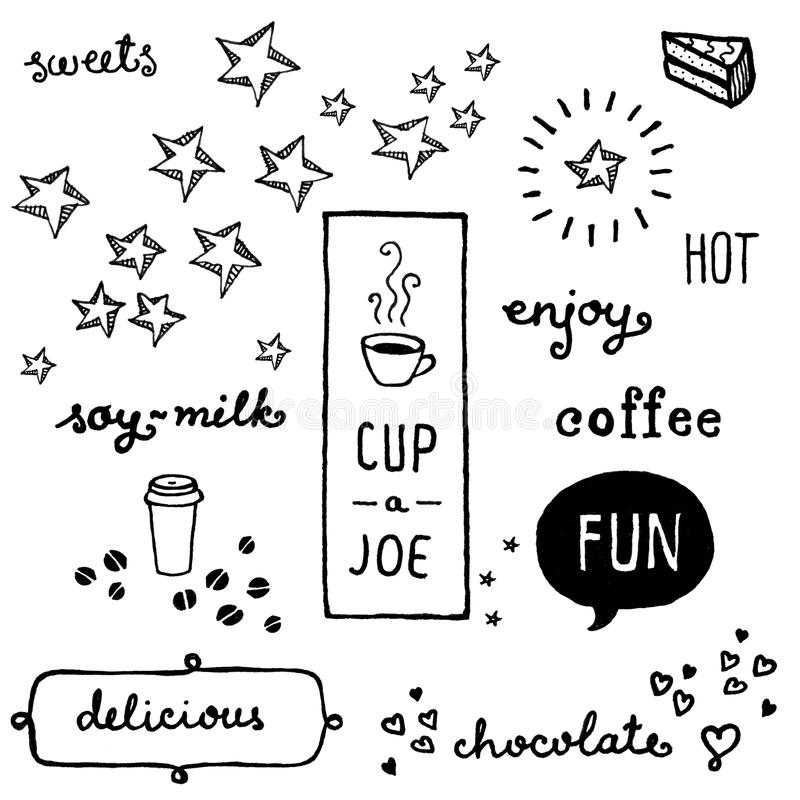 Download Coffee doodles stock illustration. Image of ideas, sweets - 38995528