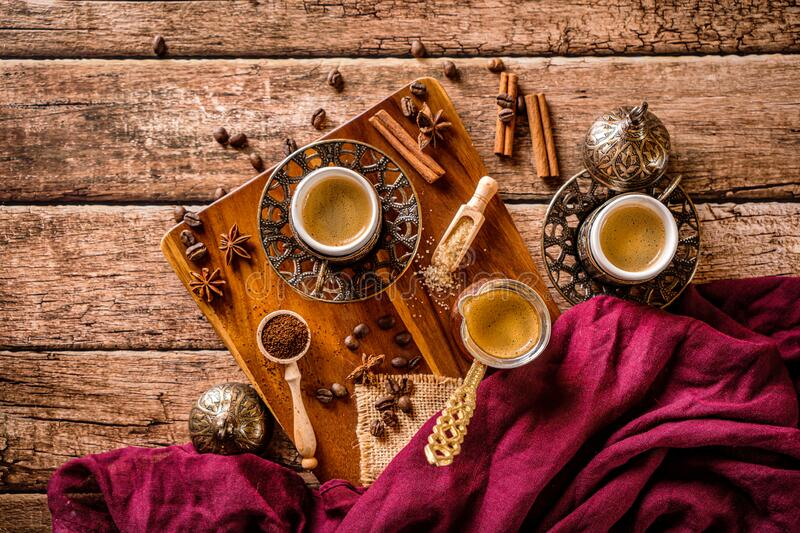 Coffee drink prepared from roasted coffee beans stock photography