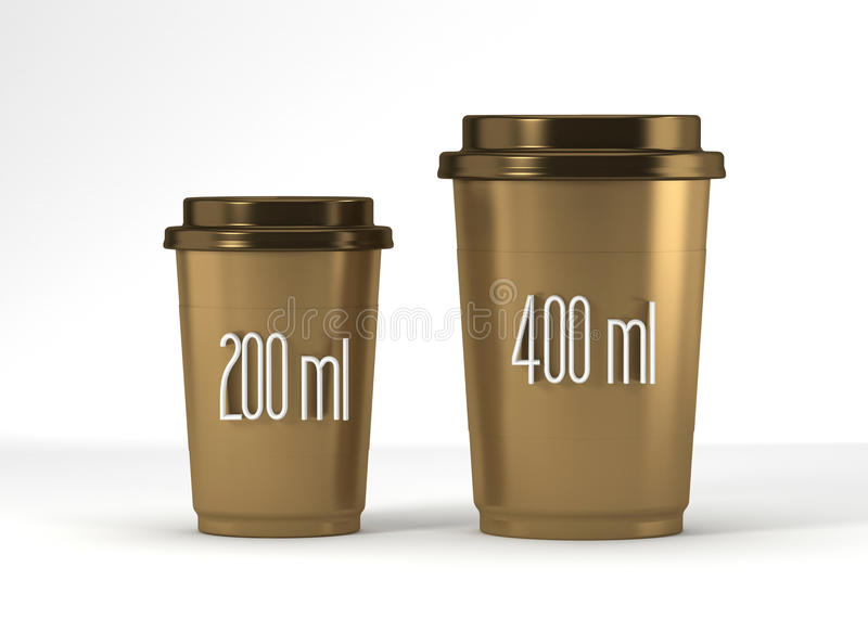 Coffee drinking cup sizes gold scheme with 200 400 milliliter 3d rendering stock images