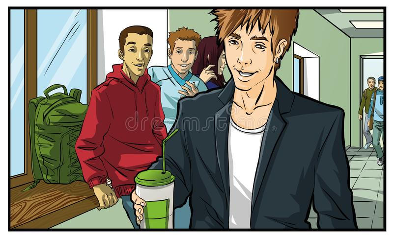 Coffee Drinking teenager, young man. Vectro color illustration vector illustration