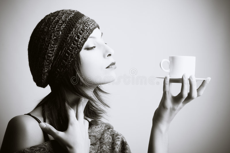 coffee drinking woman young στοκ εικόνες