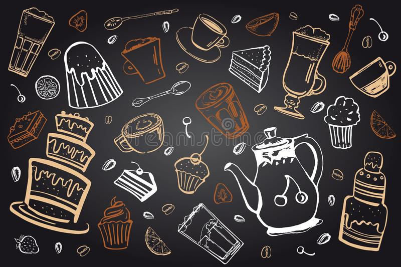 Coffee drinks and desserts set. Hand drawn sketch vector illustration on blackboard beckground. Coffee drinks and desserts set. Colorful hand drawn sketch vector stock illustration