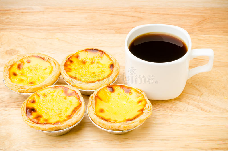Coffee and egg tart. On wooden background,breakfast stock image