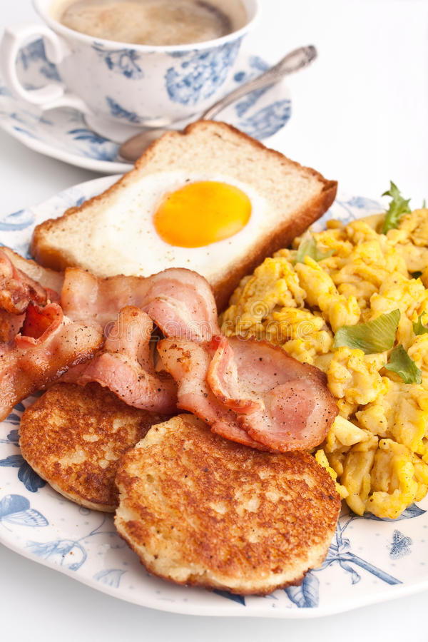 Coffee, eggs and bacon royalty free stock photo