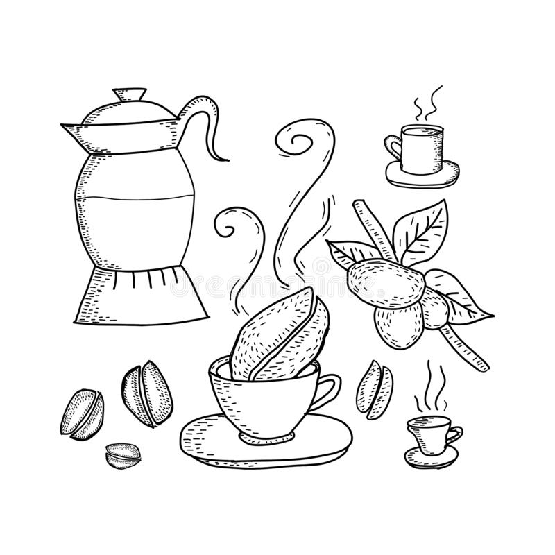 Coffee elements hand drawn sketch drawing vintage style black and white stock illustration