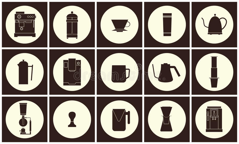 Coffee equipment vector flat line icon collection royalty free illustration
