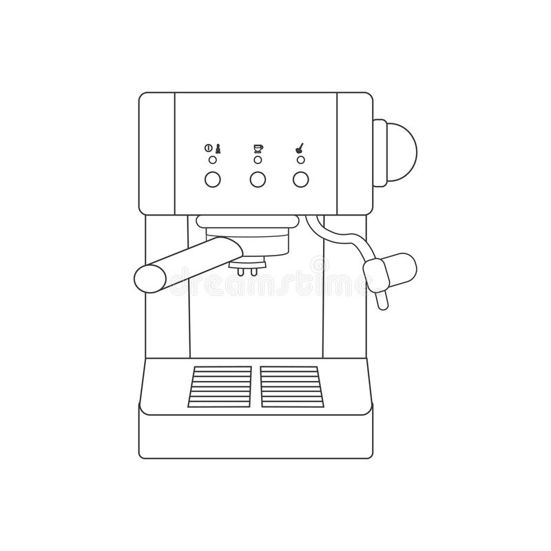 Coffee espresso machine path. On the white background. Vector illustration stock illustration