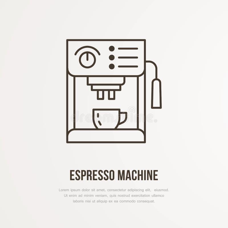 Coffee espresso machine vector flat line icon. Barista equipment linear logo. Outline symbol for cafe, bar, shop.  stock illustration