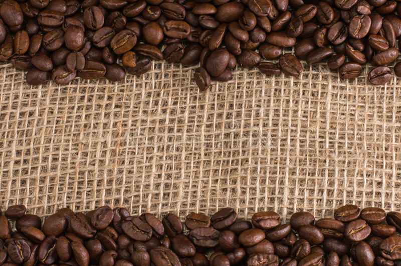 Coffee on fabric background stock photography