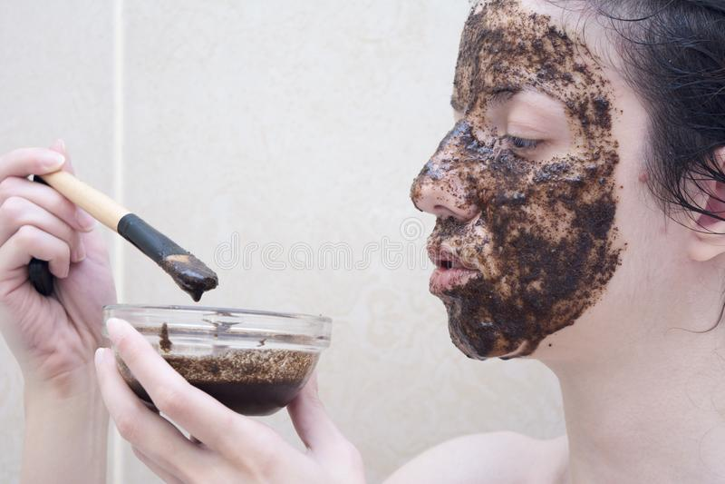 Coffee face scrub stock photography