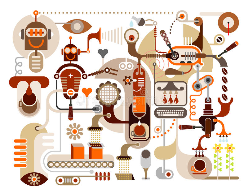 Coffee Factory - abstract vector illustration royalty free illustration