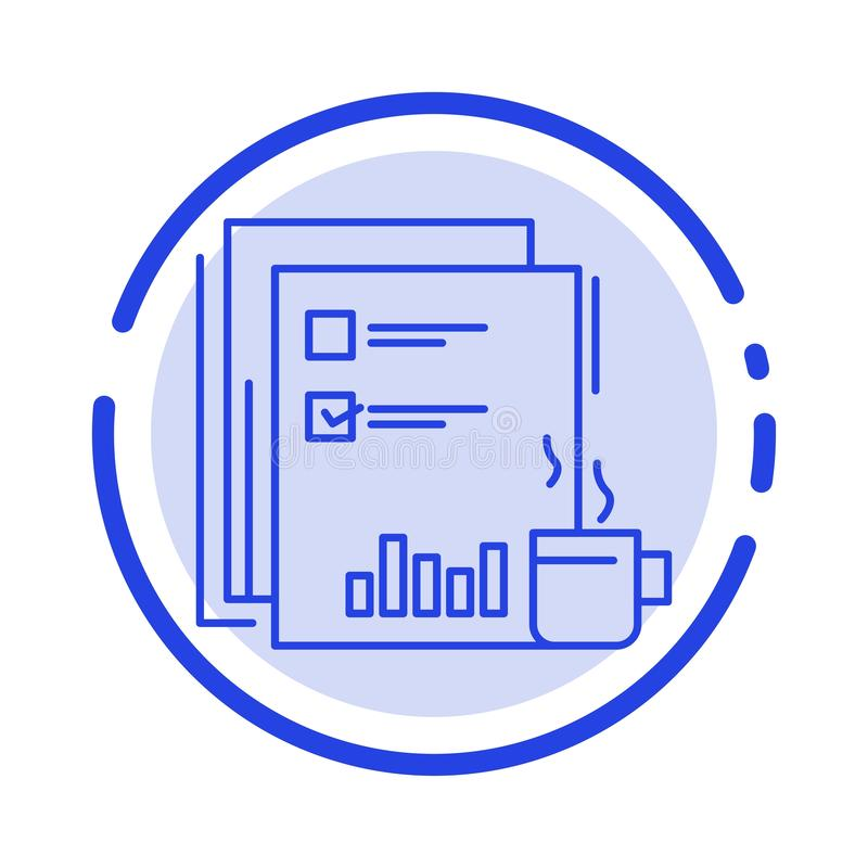 Coffee, Financial, Market, News, Newspaper, Newspapers, Paper Blue Dotted Line Line Icon stock illustration