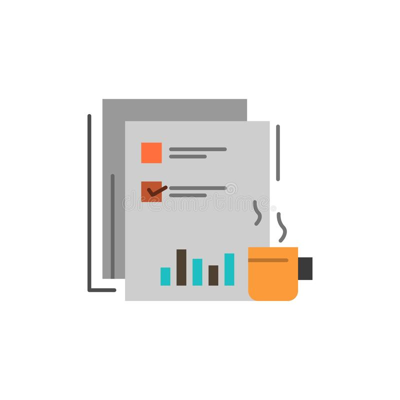 Coffee, Financial, Market, News, Newspaper, Newspapers, Paper  Flat Color Icon. Vector icon banner Template vector illustration
