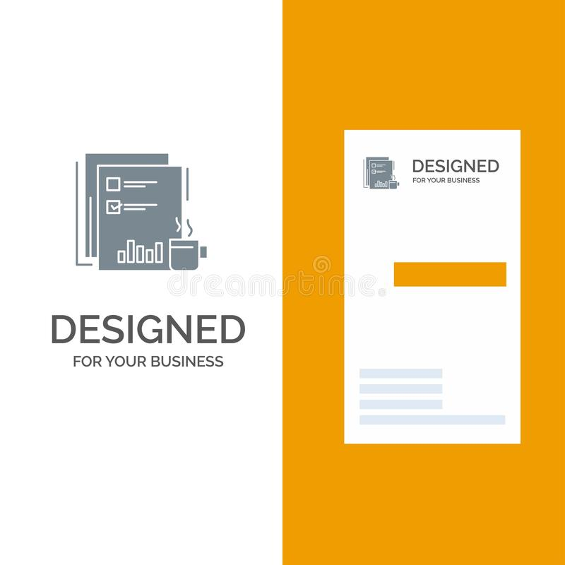 Coffee, Financial, Market, News, Newspaper, Newspapers, Paper Grey Logo Design and Business Card Template vector illustration