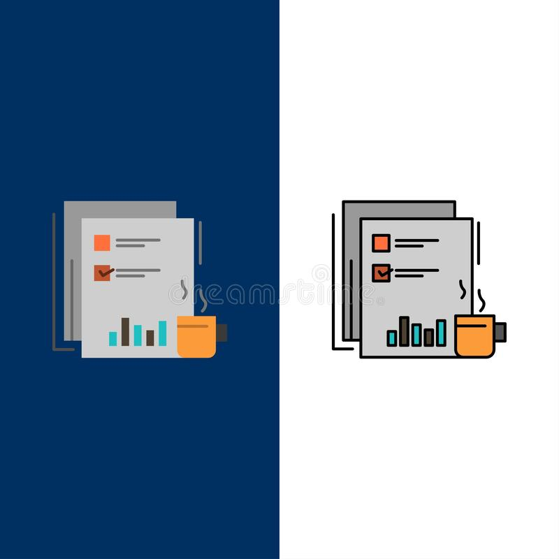 Coffee, Financial, Market, News, Newspaper, Newspapers, Paper  Icons. Flat and Line Filled Icon Set Vector Blue Background stock illustration