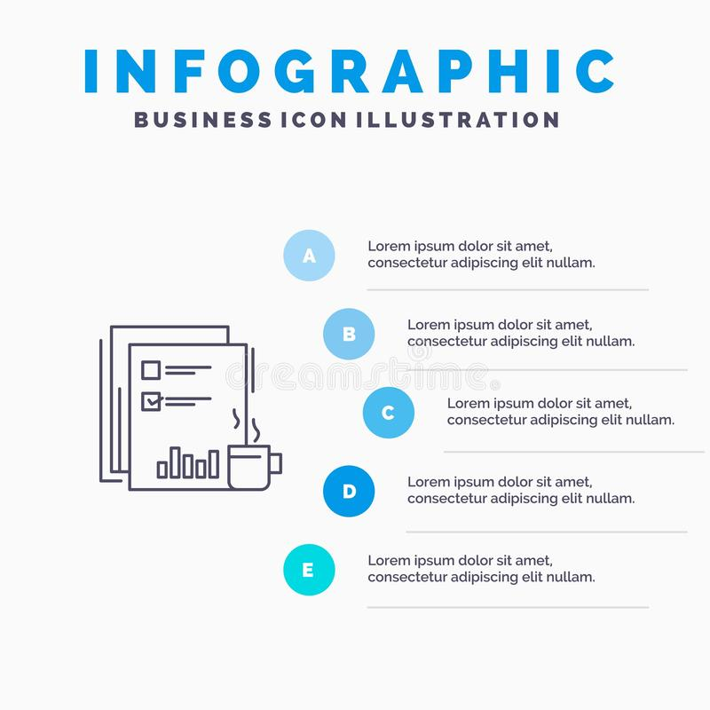 Coffee, Financial, Market, News, Newspaper, Newspapers, Paper Line icon with 5 steps presentation infographics Background stock illustration