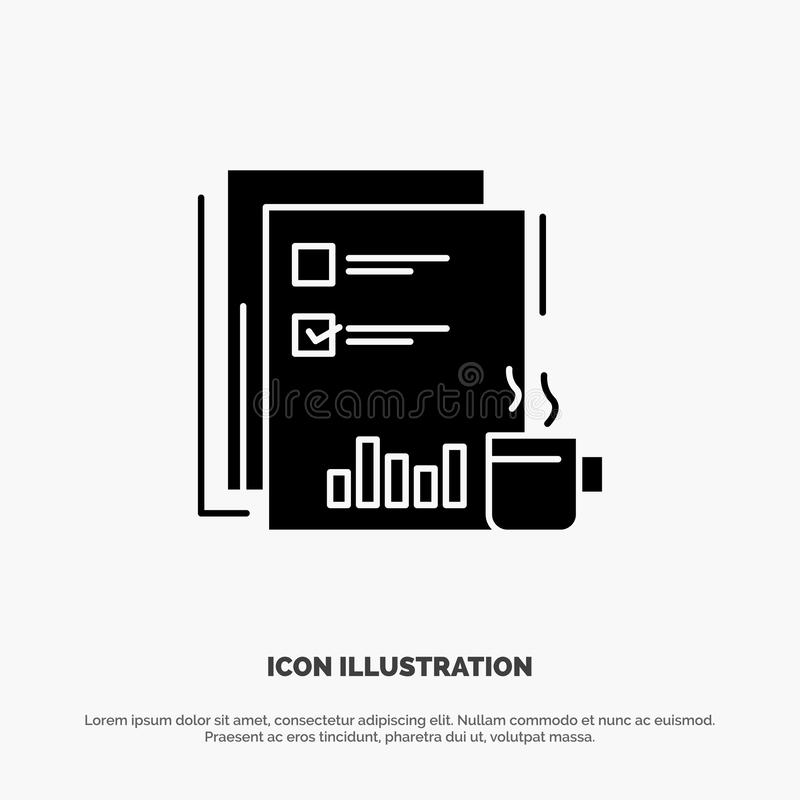 Coffee, Financial, Market, News, Newspaper, Newspapers, Paper solid Glyph Icon vector stock illustration
