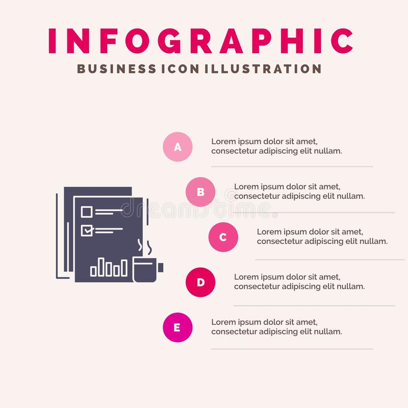 Coffee, Financial, Market, News, Newspaper, Newspapers, Paper Solid Icon Infographics 5 Steps Presentation Background vector illustration