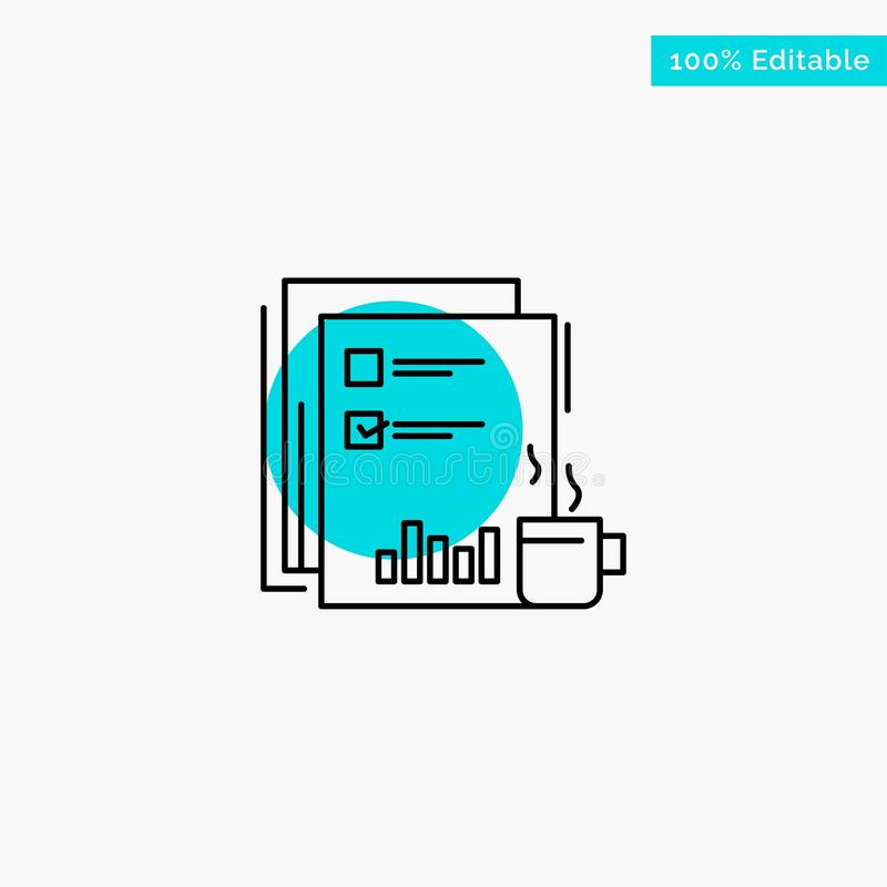 Coffee, Financial, Market, News, Newspaper, Newspapers, Paper turquoise highlight circle point Vector icon stock illustration
