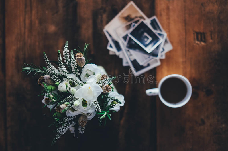 Coffee And Flowers On Old Wood Desk Free Public Domain Cc0 Image