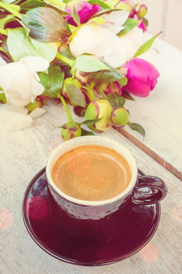 Download Coffee And Flowers Stock Photo - Image: 83719294