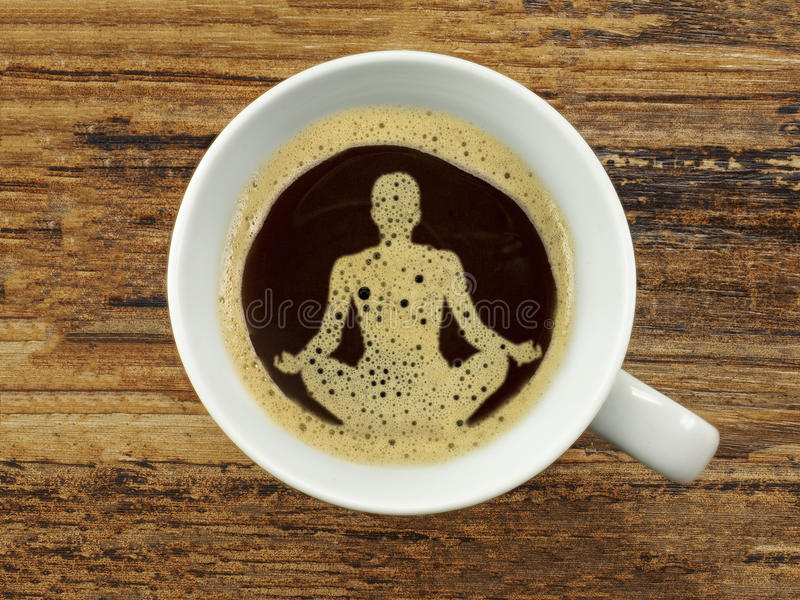In coffee foam a wellness symbol stock photos
