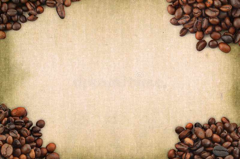 Coffee frame. Against stained retro background royalty free stock photos
