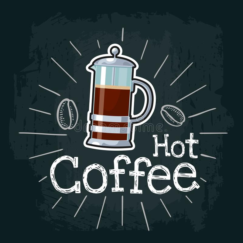 Coffee french press icon. Vector flat illustration royalty free illustration