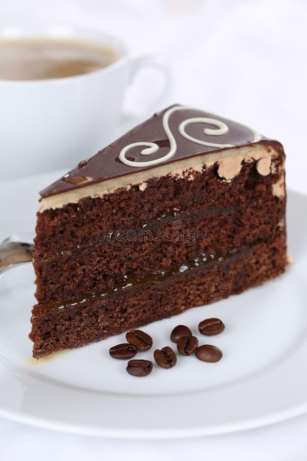 Coffee and fresh cake chocolate tart dessert. Sweet pastry royalty free stock image