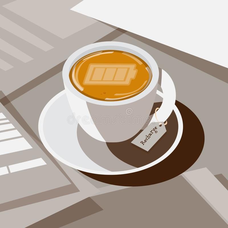Coffee with full battery as latte art on top, recharge or refresh coffee concept - vector royalty free illustration