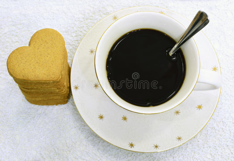 Coffee and gingerbread stock image