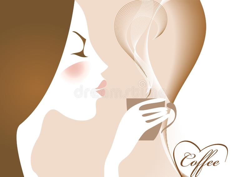 Download Coffee and girl stock illustration. Illustration of glass - 9036536