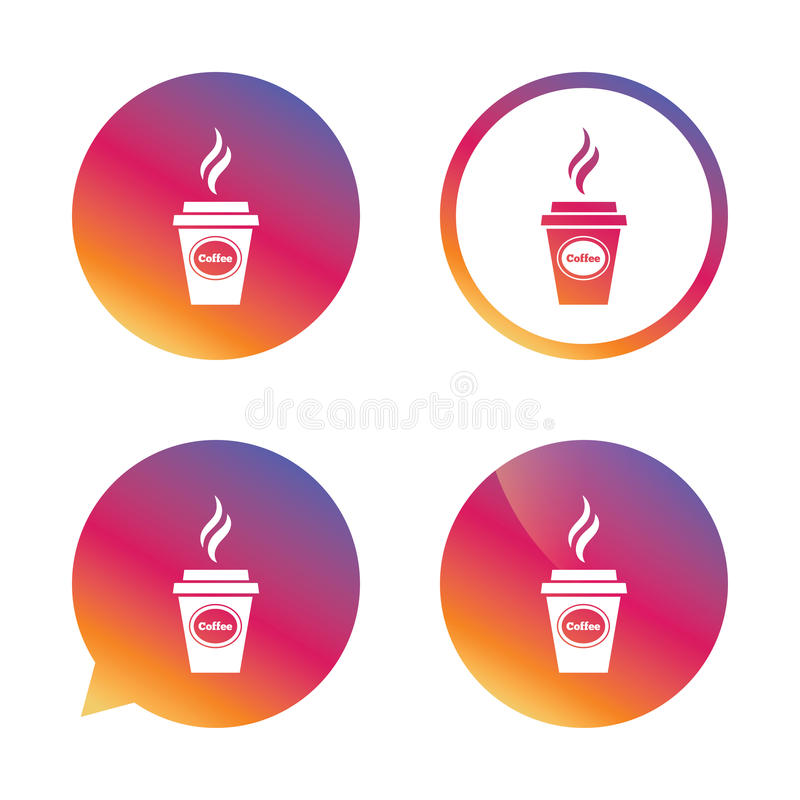 Coffee glass sign icon. Hot coffee button. royalty free illustration