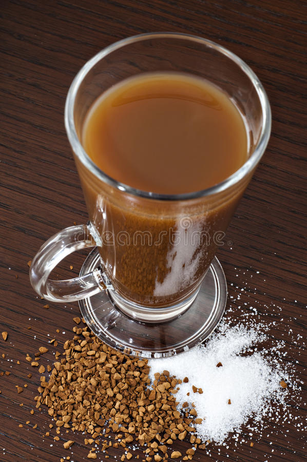 Download Coffee In A Glass With Sugar Stock Image - Image: 21970517