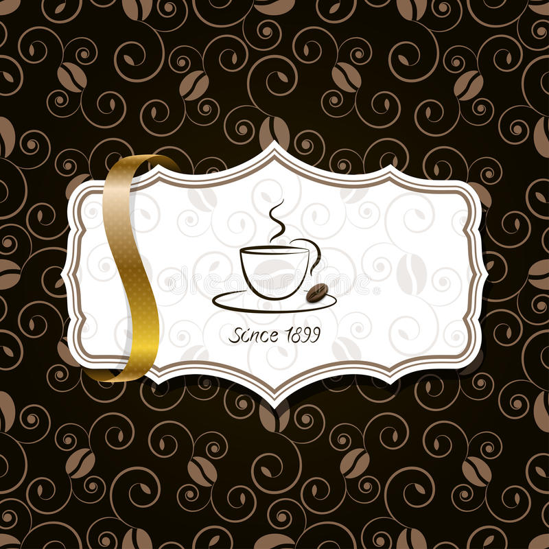 Coffee with golden ribbon and vintage pattern vector illustration