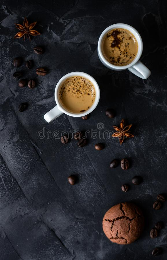 Coffee and good morning concept. Cup of coffee and good morning note on wooden background with copy space royalty free stock image