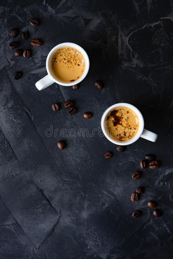 Coffee and good morning concept. Cup of coffee and good morning note on wooden background with copy space stock photography