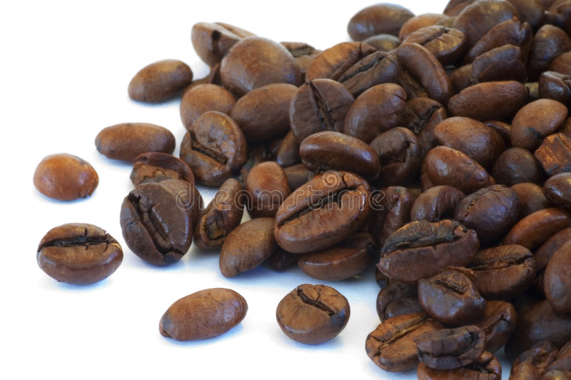 Coffee grains. Some coffee grains ina close-up royalty free stock images