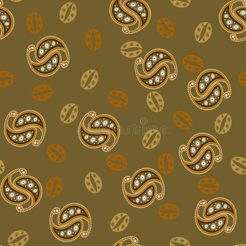 Coffee grains paisley pattern in warm brown colors. Seamless vector pattern for packaging, advertising, coffee house, restaurant. stock illustration